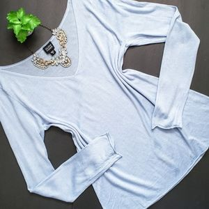 Eileen Fisher Silk Knit V-Neck Light Blue Sweater